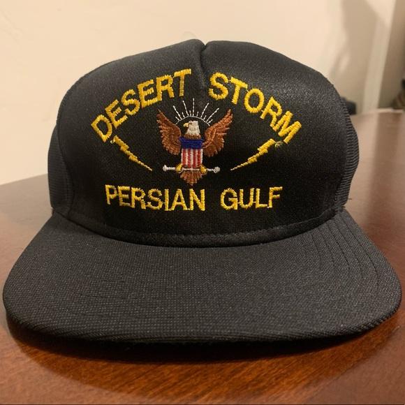 NWOT VTG Desert Storm Navy Spellout Snapback Hat